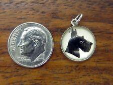 Vintage sterling silver Standard Schnauzer Dog Puppy Intaglio Glass charm #M