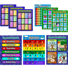 Bememo 9 Pieces Educational Preschool Posters Learning Poster Kit for Toddlers,