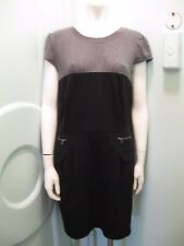 NWT Laundry by Shelli Segal Dress 10 Gray and Navy Colorblock Empire Waist
