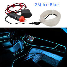 2M 12V Ice Blue Wire Car Interior Decor Neon Strip Atmosphere Cold Light Tape