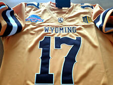 Brand New! Wyoming Cowboys College #17 Josh Allen Dual Patch Sewn Jersey YELLOW!