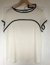 "NEW ""M&S Collection"" Women's Top, Size 14, Cream with black detail, Stretch"