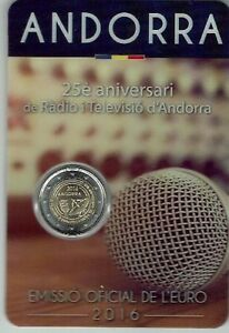 """2016 ANDORRA 2 EURO  COINCARD """" 25° ann. Radiotelevisione """""""