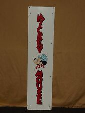 """Vintage 40"""" X 9 3/4"""" Mickey Mouse Painted Cardboard Sign"""