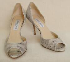 Jimmy Choo Evelyn Gray Snakeskin Peep Toe High Heel Shoes Size 36