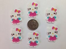 6 Pcs Lot Hello Kitty Flatback Resin Cabochon Hair Bow Center Supplies.