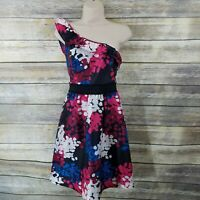 Kensie Size 6 One Shoulder Fit Flare Dress Red Pink Blue Abstract Print Party