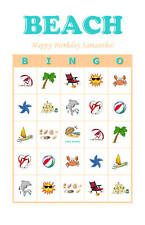 Beach/Summer Birthday Party Game Bingo Cards