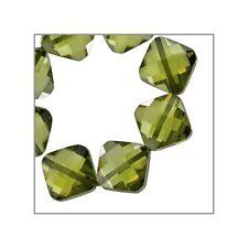 10 CZ Rhombus Square Beads 7mm Olive Green #64793