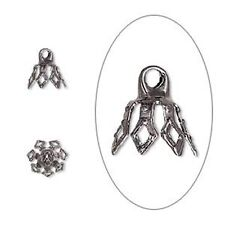 Gunmetal Plated 8mm 7-Prong Bell Bead Cap with Loop 20pc