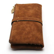 Lady Women Coffee Leather Clutch Wallet Long PU Card Holder Zipper Purse Handbag