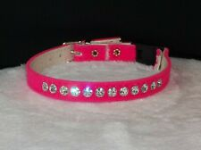 Rhinestone kitty Cat Collar Safety band Crystal Jewels hot Pink velvet Bling!
