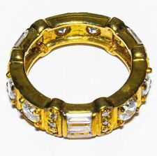 Ring 6.2grams Size: 6 3/4 #3874 Silver And Cz Gold Plated Eternity