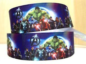 """Marvel Avengers Superhero Ribbon 1"""" (25mm) Wide 1m is £1.49 UK SELLER FREE P&P"""
