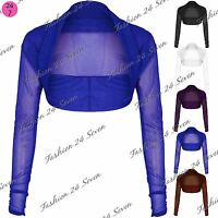 New Womens Ladies Sheer Mesh Chiffon Long Sleeve Bolero Crop Cropped Shrug Top