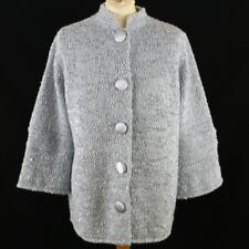 WARDROBE Coatigan Women Boucle Knit Jacket UK 12 14 Blue Silver Button Chunky