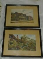 "Pr Vintage Color Prints Shakespeare & Ann Hathaway Homes 14 5/8""x 11 1/2"" Framed"