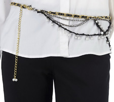 Kelli Kouri Glitz & Glamour Adjustable Belt Necklace  Black Gold Chain Leather