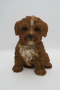 CAVOODLE STATUE BROWN PUPPY DOG ANIMAL GARDEN ORNAMENT SCULPTURE