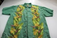 Tommy Bahama Silk Vineyard Green Floral Front/Back Pattern CAMP SHIRT Large L