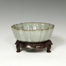 CHINESE PORCELAIN CELADON GREEN CRACKLE LEAF FORM BOWL MAHOGANY BASE CHINA