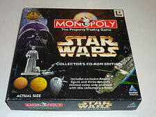 star wars monopoly collectors cd-rom edition big box pc 1997 anikin figure coins