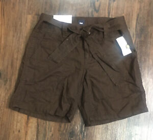 Gap Shorts Linen Blend Brown Pockets Tie Front women's size 6