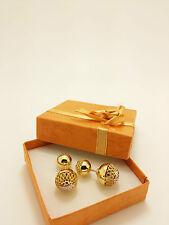 18k Solid Two Tone Italian Diamond Cut, Filigree Ball Earrings 6.48 Grams