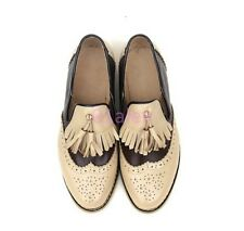 Womens Retro Brogue Flat Oxfords Wing Tip Leather SHoes Tassel Pump Carved New