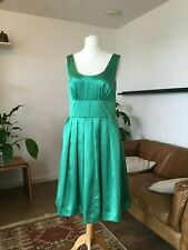 Jasmine Guiness emerald green vintage style satin dress size 14