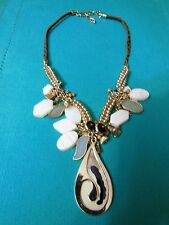 Beautiful Statement Yin-Yang Tao Design Necklace Colors Gold, Browns, Beige
