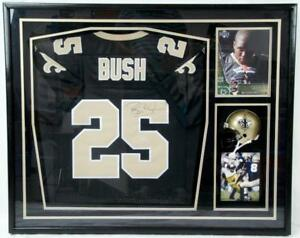 Reggie Bush #5 Saints Shadowbox Signed Jersey Framed with Photo Mini Helmet