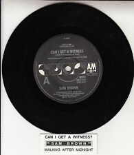 "SAM BROWN  Can I Get A Witness? 7"" 45 rpm vinyl record + juke box title strip"