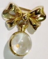 broche ancienne signé noeud pampille boule couleur or brooch gold tone * 3974