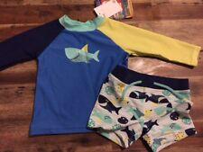 BNWT Boy's Rashie/Rash Vest/Top Long Sleeve & Pants Set Swimmers Size 12-18 Mths