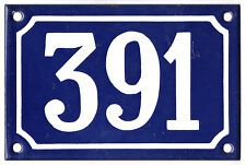 Blue French house number 391 door gate plate plaque enamel steel metal sign