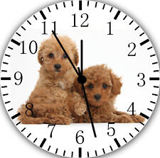 Cute Poodle Puppy Borderless Wall Clock Nice For Decor or Gifts F06