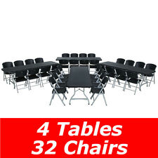 Lifetime 80486 8-Foot Stacking Table And Chair Combo (Black) 4 Tables 32 Chairs
