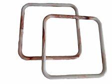 "Pair of 8"" White/Rust Marble Square Plastic Macrame Craft Handbag Purse Handle"