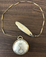 Vintage Gruen Veri-thin Pocket Watch Gold Color With Chain And Pocket Knife