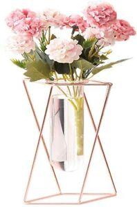 Glass Flower Vase with Metal Stand Modern Geometry Desktop Glass Planter Indoor