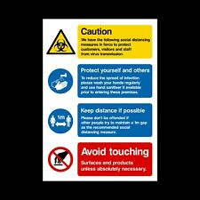 1 Metre Social Distancing Measures - Sticker or Plastic Sign A5 A4 A3 (SD2)