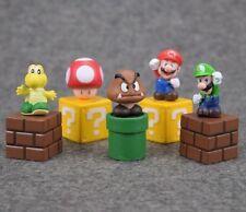 Super Mario Mini Action Figures Set Nintendo Series Bros Luigi New PVC Toy 5pcs
