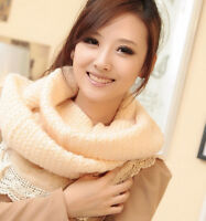 New Women Solid Knit Warm Crochet Long Circle Scarves Infinity Scarf