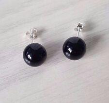 10 mm Black Round Onyx Stud Earrings 925 sterling silver