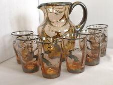 Servizio bicchieri acqua caraffa brocca vintage vetro argento Art Decò Giò Ponti