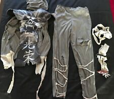 boys Zombie complete Costume size 8 pants Hooded Top Ties Overlay Skull W/ Teeth
