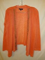 KAKTUS Women's NWOT Coral open Cardigan Size Small. Brass accents. Light weight
