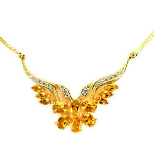 """NATURAL ORANGISH YELLOW CITRINE & WHITE CZ STERLING 925 SILVER NECKLACE 17.75"""""""