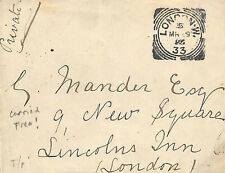 EE145 1895 GB SQUARED CIRCLES *London W/33* UNPAID Cover Apparently Carried Free